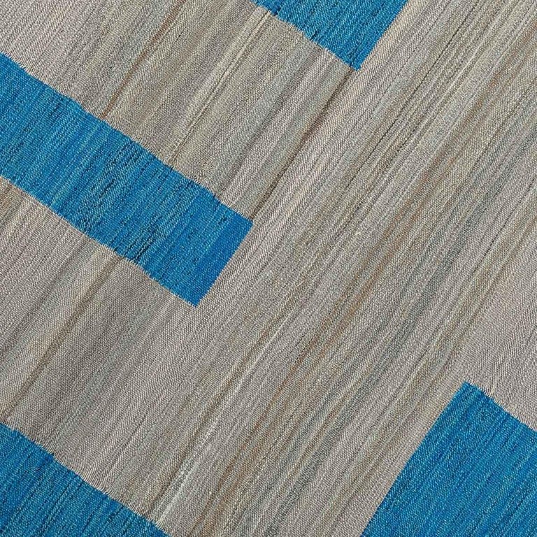 Geometric Contemporary, Blue and Gray Kilim Design For Sale 6