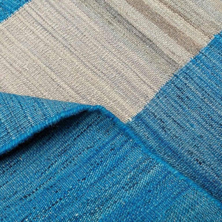 Geometric Contemporary, Blue and Gray Kilim Design For Sale 7
