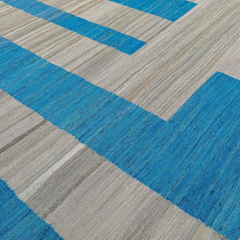 Geometric Contemporary, Blue and Gray Kilim Design For Sale 8