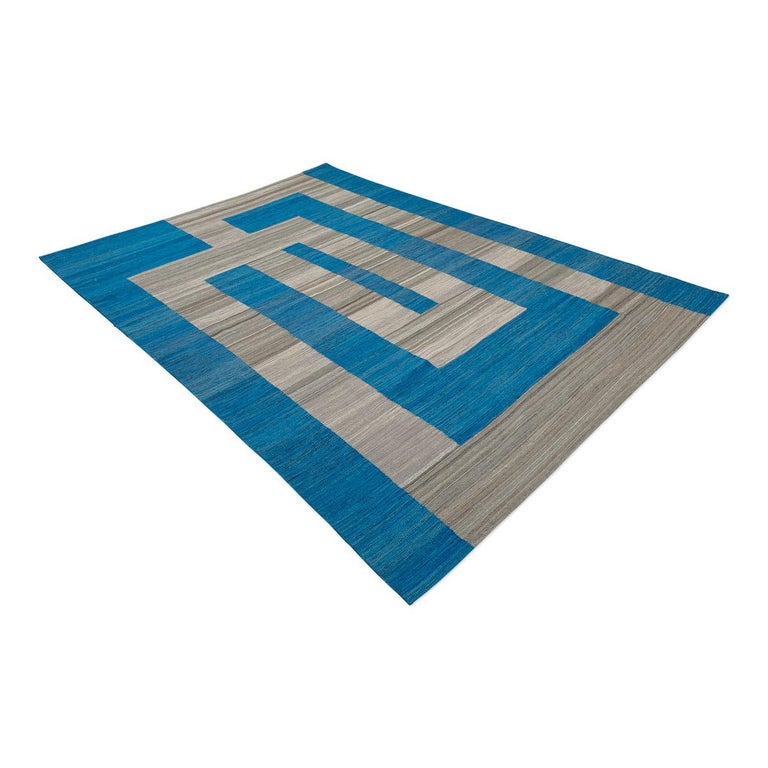 Afghan Geometric Contemporary, Blue and Gray Kilim Design For Sale
