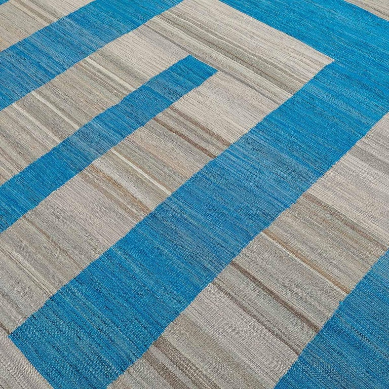 Wool Geometric Contemporary, Blue and Gray Kilim Design For Sale