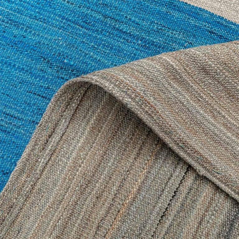 Geometric Contemporary, Blue and Gray Kilim Design For Sale 1