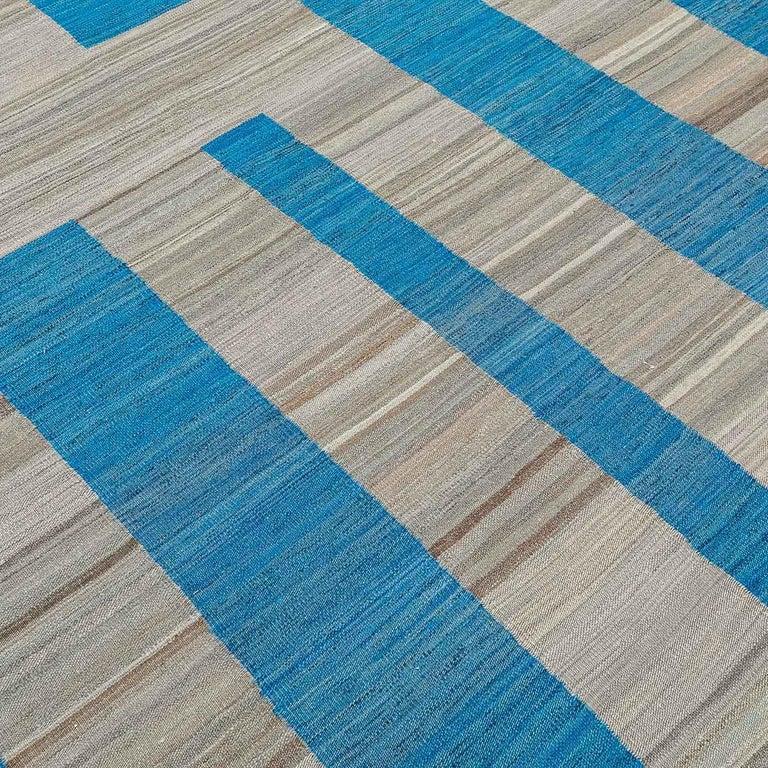 Geometric Contemporary, Blue and Gray Kilim Design For Sale 2