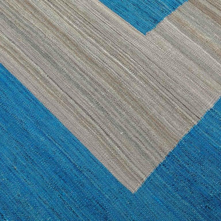 Geometric Contemporary, Blue and Gray Kilim Design For Sale 3