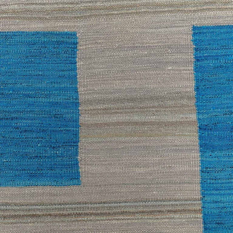 Geometric Contemporary, Blue and Gray Kilim Design For Sale 4