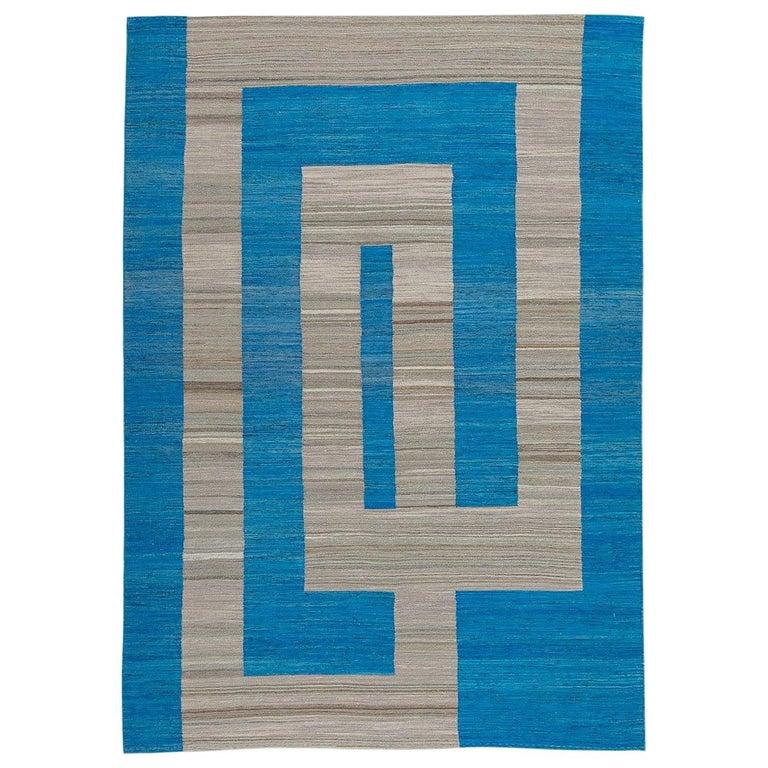 Geometric Contemporary, Blue and Gray Kilim Design For Sale