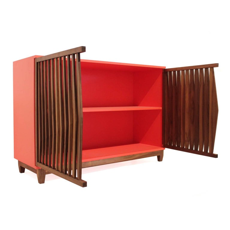 Mexican Geometric Credenza Made of Mayan Solid Wood, Handcrafted in México For Sale