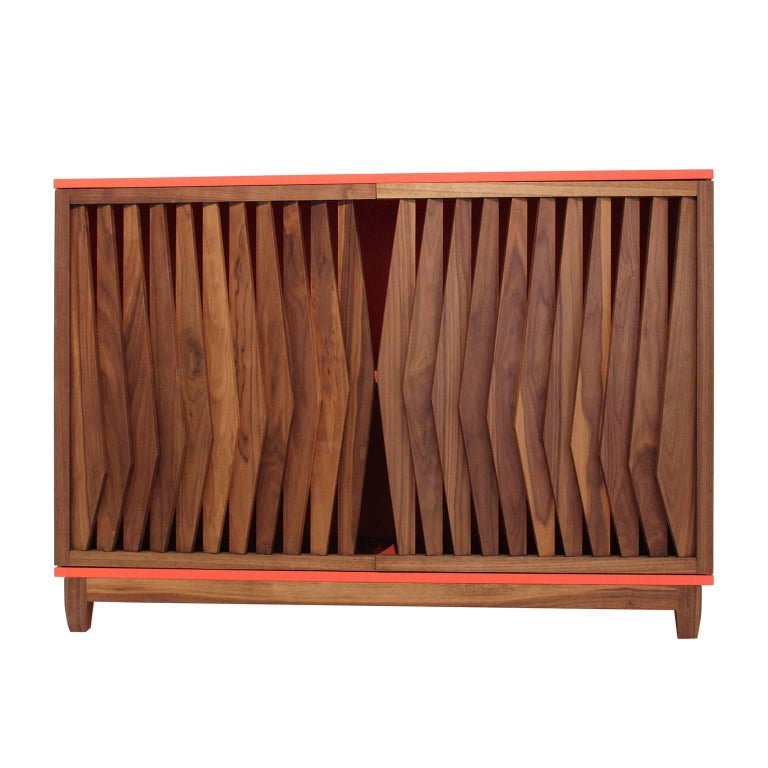 Woodwork Geometric Credenza Made of Mayan Solid Wood, Handcrafted in México For Sale