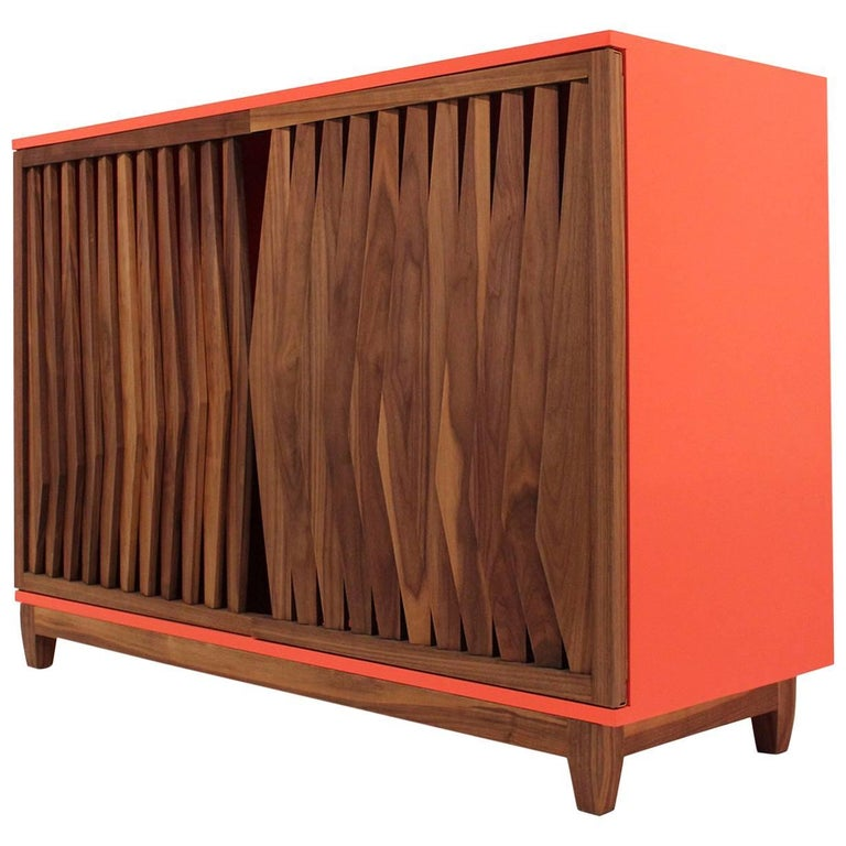 Geometric Credenza Made of Mayan Solid Wood, Handcrafted in México For Sale