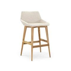 Geometric Cubi Bar Stool Bawith Teak Base and Oatmeal Fabric Seat