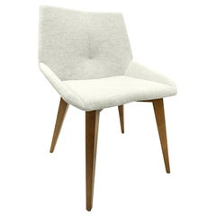 Geometric Cubi Dining Chair with Oak Base and Ivory Fabric Chair Seat