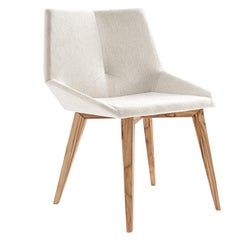 Geometric Cubi Dining Chair with Teak Base and Ivory Fabric Chair Seat