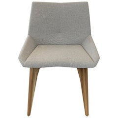 Geometric Cubi Dining Chair with Teak Base and Light Gray Fabric Chair Seat