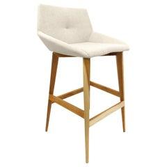 Geometric Cubi Stool with Teak Base and Oatmeal Fabric Seat