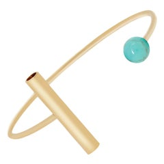 Geometric Cuff Bracelet with Turquoise and Gold Plate by Allison Bryan