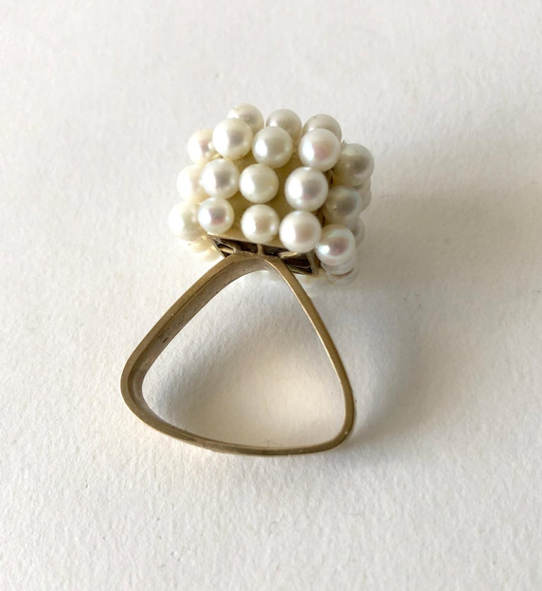 1960s Geometric Custom Scandinavian Modernist Pearl Silver Gold Vermeil Ring In Good Condition For Sale In Los Angeles, CA