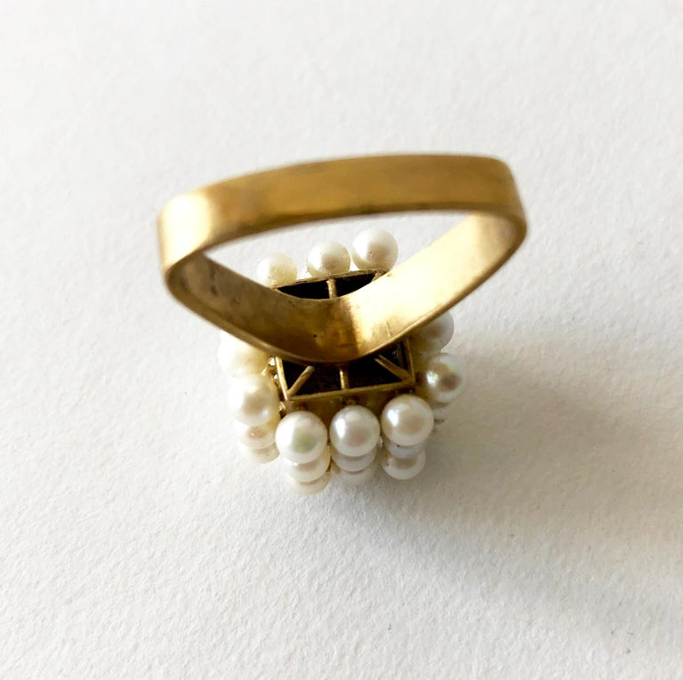 Women's 1960s Geometric Custom Scandinavian Modernist Pearl Silver Gold Vermeil Ring For Sale