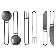 Geometric Cutlery Silver Service Set x 2
