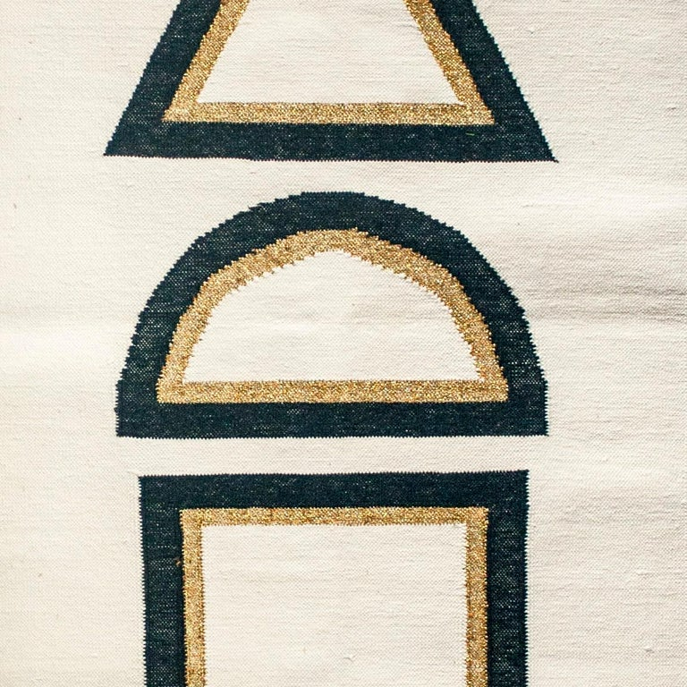 Indian Geometric Dana Handwoven Modern Cotton Rug, Carpet and Durrie For Sale