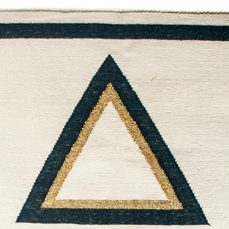 Hand-Woven Geometric Dana Handwoven Modern Cotton Rug, Carpet and Durrie For Sale