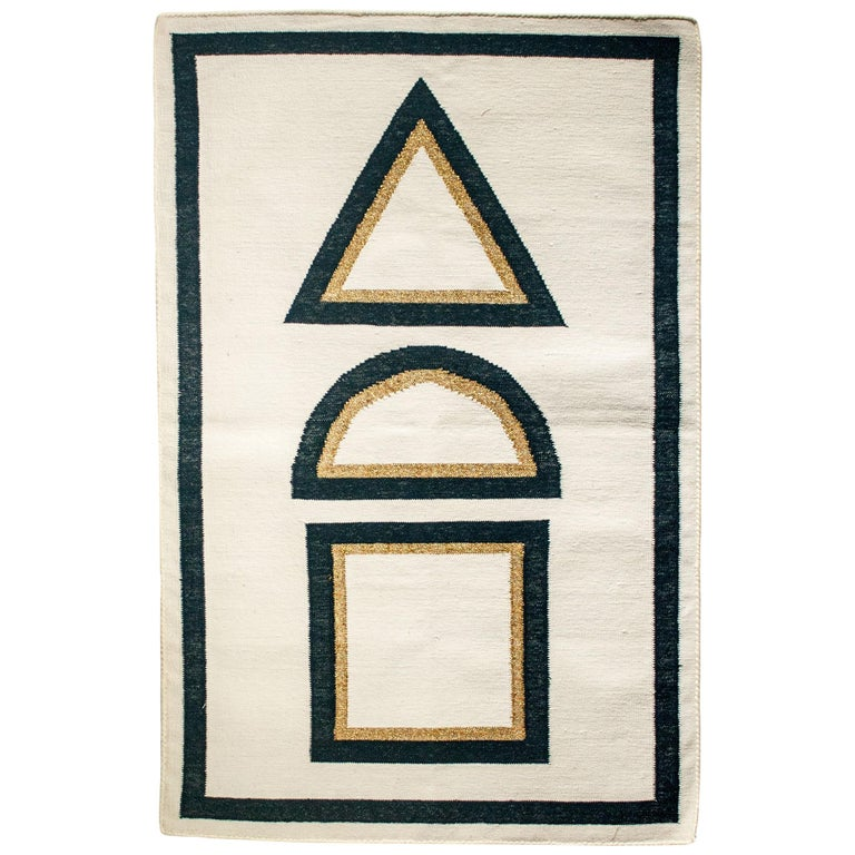 Geometric Dana Handwoven Modern Cotton Rug, Carpet and Durrie For Sale