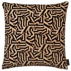Geometric Dazzle Antique Gold and Black Cotton Velvet Cushion by 17 Patterns