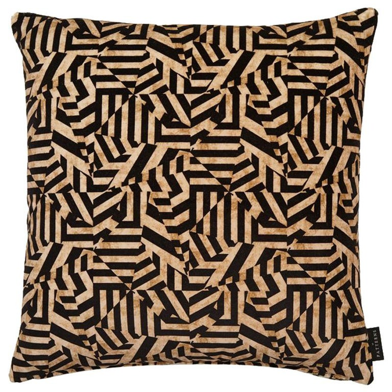 Geometric Dazzle Antique Gold and Black Cotton Velvet Cushion by 17 Patterns For Sale