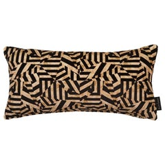 Geometric Dazzle Antique Gold Cotton Velvet Lumbar Cushion by 17 Patterns