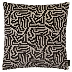 Geometric Dazzle Black and Grey Cotton Velvet Cushion by 17 Patterns