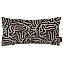 Geometric Dazzle Black and Grey Cotton Velvet Lumbar Cushion by 17 Patterns
