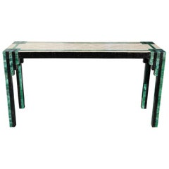 Geometric Deco Modern Tessellated Green / Black Console Table Karl Springer
