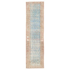 Geometric Design Antique Persian Malayer Runner with Blue Background