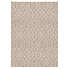 Geometric Design Customizable Conversation Weave Rug in Stone Large