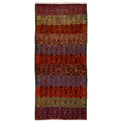 Geometric Design Vintage Handwoven Turkish Runner Kilim 'Flat-Weave'
