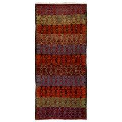Geometric Design Vintage Handwoven Turkish Runner Kilim 'Flat-Weave'