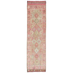 Geometric Design Vintage Runner from Turkey in Pink and Green Colors