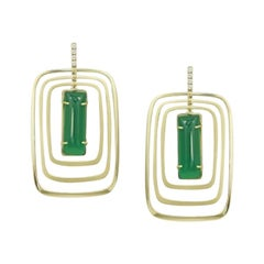 Geometric Designer Agate Dangle Square Yellow Gold Earrings for Her