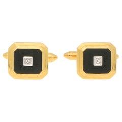 Geometric Diamond and Onyx Cufflinks in Yellow Gold