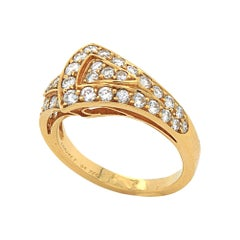 Geometric Diamond Ring in 18k Yellow Gold, by Chaumet, 20th Century