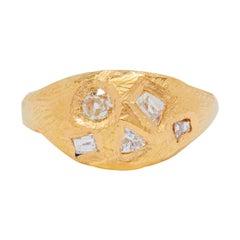 Geometric Diamond Signet Ring