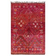 Geometric Folk Art Vintage Moroccan Rug
