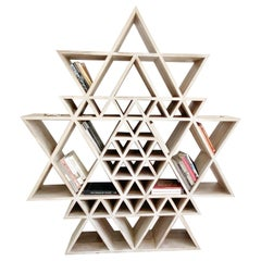 Geometric Fractal Bookshelf made of Solid Teakwood