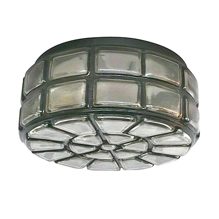 Geometric Glass Flush Mount For Sale