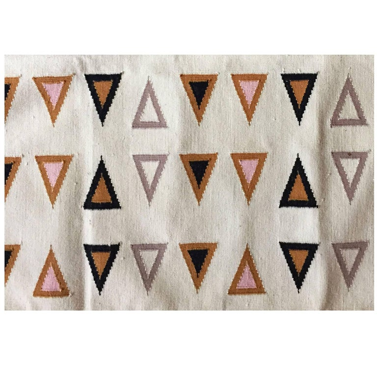 Geometric Gramercy Multi Handwoven Modern Cotton Rug, Carpet and Durrie For Sale