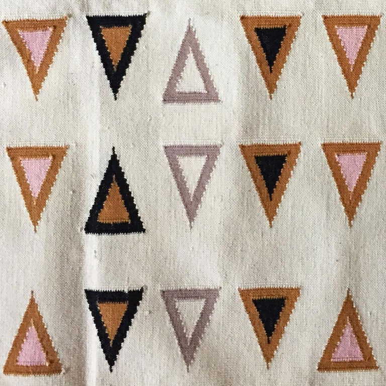 Indian Geometric Gramercy Multi Handwoven Modern Cotton Rug, Carpet and Durrie For Sale