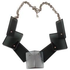 Geometric Gray Lucite  Bib Necklace