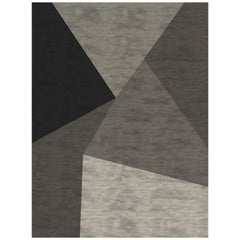 Geometric Hand Knotted Rug in Wool and Viscose by Roberto Cavalli Home Interiors