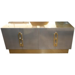 Geometric Handled Stainless and Brass Credenza