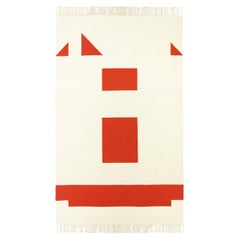 Geometric, Handwoven, Wool Rug / Kilim, Natural Dye, Red