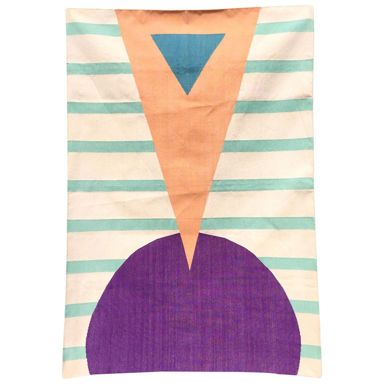 Geometric Hello Handwoven Modern Cotton Rug, Carpet and Durrie For Sale